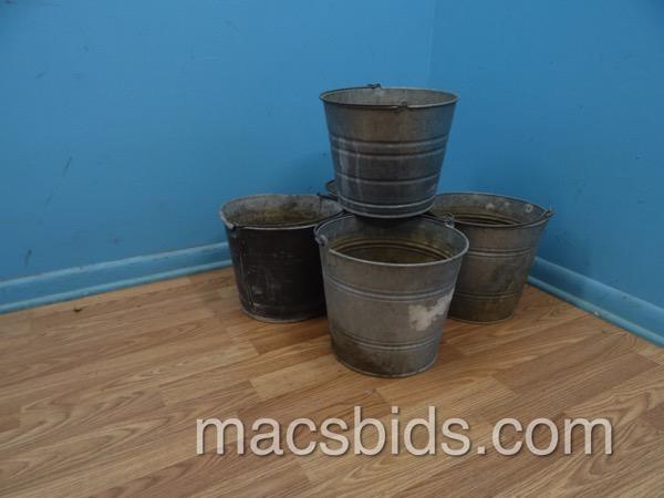 Galvanized metal bucket planters macs bids for Metal bucket planter